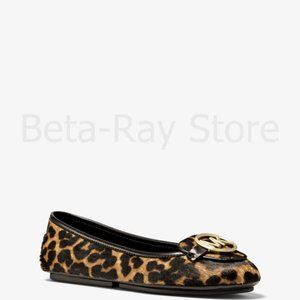 NWT Michael Kors Lillie Leopard Calf Hair Moccasin